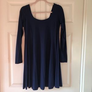 Front and back scoop neck navy dress.